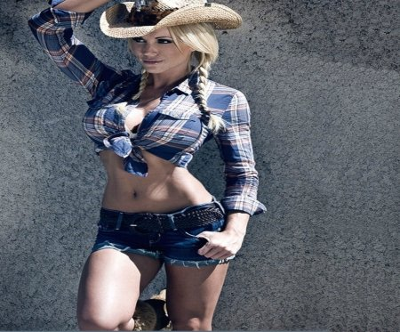 Cowgirl - female, models, hats, rock, beautiful, fun, sexy, women, fantasy, walls, jeans, cowgirls, fashion, cutoffs, actors, style