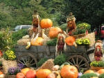 scarecrows in a wagon