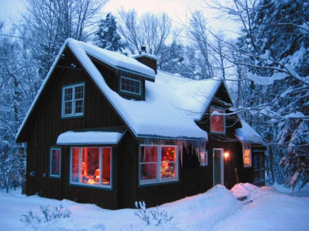 Winter Cabin In The Woods Winter Nature Background Wallpapers On