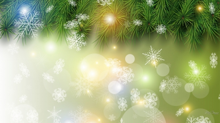 Winter Glowing Green - shine, fir, pine, abstract, tree, glow, winter, snowflakes, lights, spruce