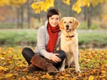 Girl and dog - autumn