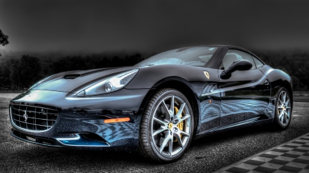 Reflection On A Shiny Ferrari Hdr   Shiny, Car, Black, Hdr, Reflection