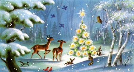Christmas In The Woods.Christmas Animals Deer Animals Background Wallpapers On