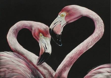 Two Flamingos - pink, flamingos, 2, painting