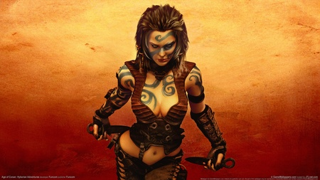 Cimerian Woman Age of Conan - age of conan, cimerian woman, tribal tattoo, woma, conan