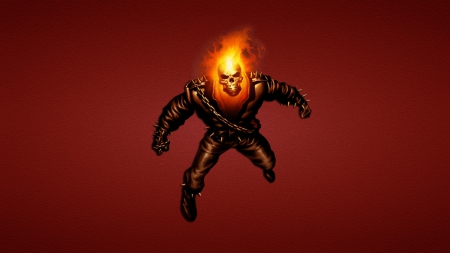 Ghost Rider - ghost rider, fire, flames, men, people, cartoon