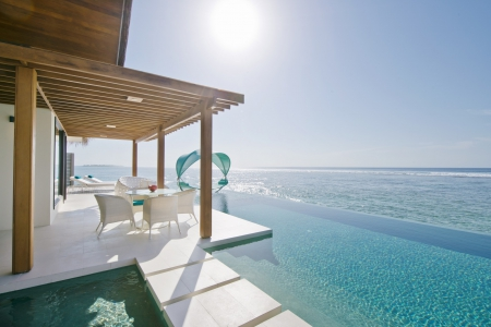 Cool Aqua Waters......... - sun, bungalow, villa, sea, lagoon, swimming, blue, exotic, islands, view, ocean, pool, water, paradise, spa, summer, jacuzzi, sunshine, island, tropical