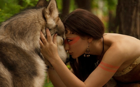 Wolf And Indian Woman - amazing, wolf, woman, indian