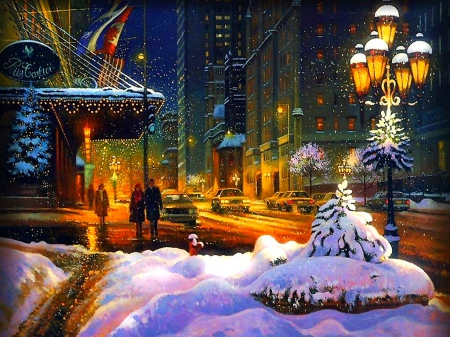 Christmas walk in the city - Winter & Nature Background Wallpapers ...