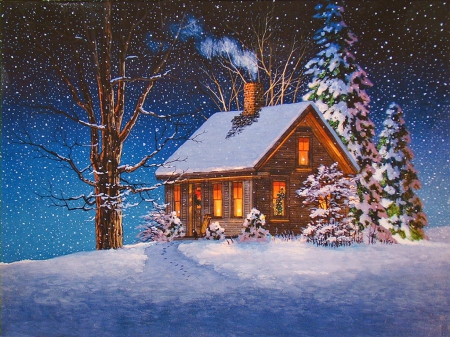Beautiful Cottage In Christmas Time