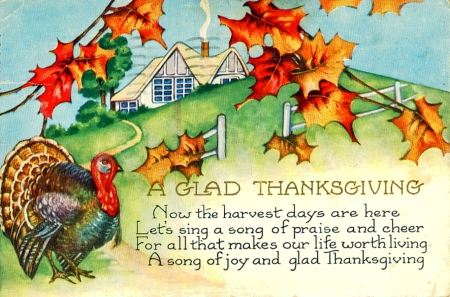 Thanksgiving Message - Fall, fence, house, leaves, Thanksgiving, turkey, trees, Autumn