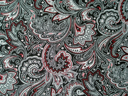 Black, White, & Red Paisley - vintage, black, swirls, white, paisley, vmhenson, abstract, red, cute