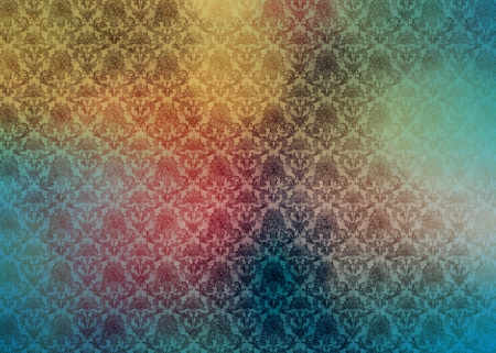 Multicolor Damask - pattern, vmhenson, damask, yellow, rainbow, teal, multi color, cute, girly, multicolor, pink, blue, vintage