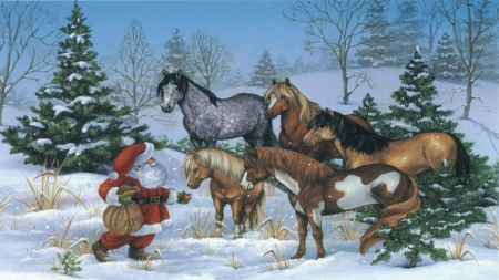 Country Christmas Background Wallpaper.Country Christmas Horses Animals Background Wallpapers