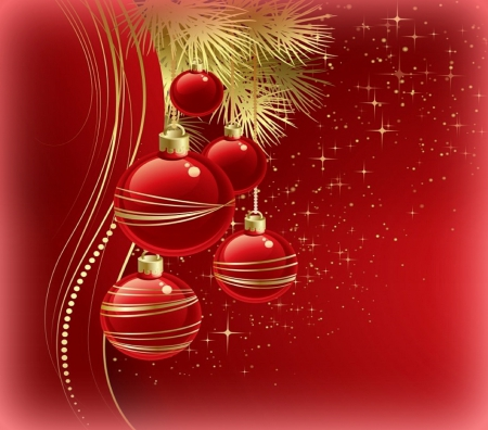 ✰Xmas Decorations✰ - lovely, christmas, happiness, beautiful, red balls, hanging, digital art, blessings, xmas and new year, picture, greetings, cute, still life, winter holidays, celebrations, vector