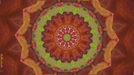 Autumn Leaf Collage Two - red, Fall, brown, tan, co11age, leaf, kaleidoscope, kaleidoscopes too1, leaves, green, Autumn