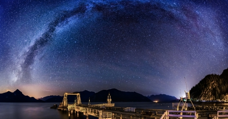 spectacular starry sky over furry creek british columbia - pier, stars, dock, sky, river