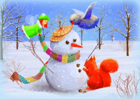 ✰Let's Dress Up the Snowman✰ - scarves, squirrel, digital art, xmas and new year, greetings, paintings, illustrations, dress up, drawings, fairy, lovely, storybook, s, christmas, love four seasons, creative pre-made, blessings, snowman, dry trees, cute, bird, snow, winter holidays, nature, celebrations