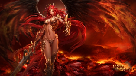 League of Angels - Mikaela 1920x1080 - purgatory, volcano, mmorpg, League of Angels, fire, female, sexy, GTArcade, game, video game, angel, wing, rpg, hell, fantasy girl, browser game, girl