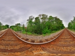 fantastic fisheye view of a train track