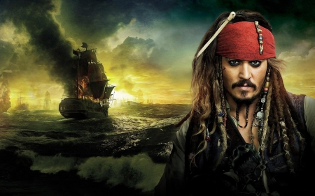 Captain Jack Sparrow - red, yellow, man, pirate, sea, ship, jack sparrow, johnny depp, Pirates of the Caribbean, actor