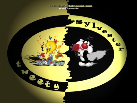 Sylvester & Tweety - cartoons, looney tunes, black, yellow, cartoon, animacion, warner brothers, bird, tweety, cats