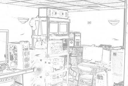 Digital Life of a Child bedroom - servers, rig, homemade, computers, black and white, bedroom, messy, computer, outline, lots