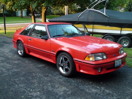 Ford 1993 Foxbody Mustang - red, gt, race, racing, 1993, foxbody, mustang, fox, body, ford, car
