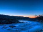 gorgeous blue rapid river at dusk hdr