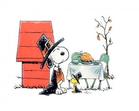 Happy Thanksgiving - snoopy, Dog house, woodstock, turkey, thanksgiving