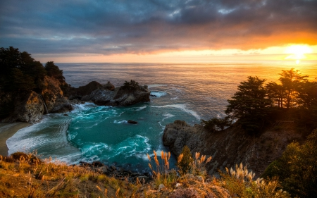 McWay Waterfall, California Coast - USA, Waterfall, Sunset, Bay