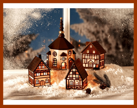 Little Christmas Village - christmas, houses, village, church, lights