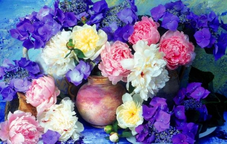 Colorful flowers - colorful, flowers, blue, white, colors, pink, nature, clay pot, natural, peonies, purple, spring, ceramics