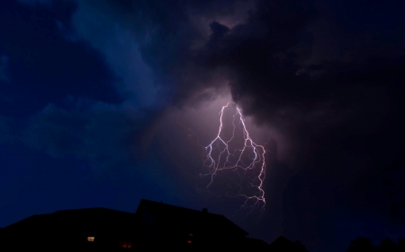 The LIGHTNING - thunderbolt, evening, lightning, clouds