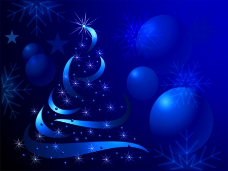 Sapphire Christmas - Christmas, tree, balls, abstract, blue