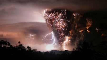 amazing lightning in a volcano eruption - lightning, eruption, smoke, volcano, night