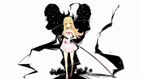 shinobu - nisemonogatari, blonde anime with sword, blonde hair anime, nekomonogatari, cool wallpaper, shinobu, oshino, anime wallpaper, oshino shinobu, awesome wallpaper, bakemonogatari, girl with sword, anime sword, shinobu oshino