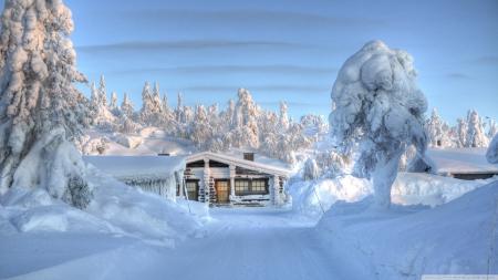 Heavy Snow Cabin Winter Nature Background Wallpapers On Desktop