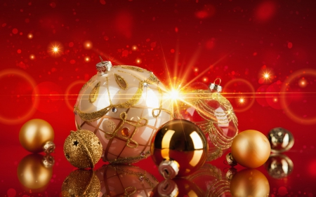 Golden Christmas - merry christmas, balls, new years, golden, beautiful, light
