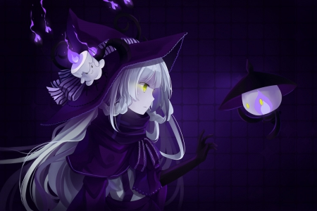 Come with me - pretty, witch, white hair, green eyes, litwick, pokemon, horns, lights, sweet, nice, gloves, anime, anime girl, long hair, hitsukuya, female, lampent, hat, fire, cool, purple, dark, awesome, white