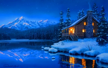 Winter cabin - Other & Abstract Background Wallpapers on ...