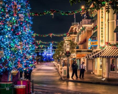 Christmas Time - christmas, blue, road, town, splendor, christmas tree, disney, magic christmas, merry christmas, christmas decoration, streets, lights, city, xmas