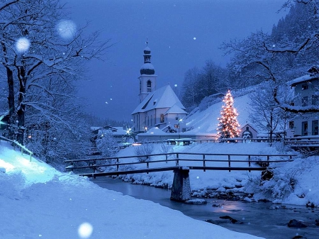 ☆Christmas Blue Village☆ - Winter & Nature Background Wallpapers ...