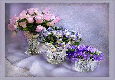 Beautiful flowers  - Still life - various, vase, beautiful, floral, still life, arrangement, color, flowers, beauty, pink, blue, soft, roses, purple, crystal, nature, natural