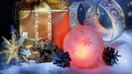 Christmas - ball, gift, christmas, decoration