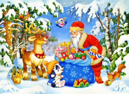Santa and his pack - fall, colorful, beautiful, magic, nice, deers, friends, frost, pack, animals, lovely, holiday, christmas, fun, new year, joy, smiling, mood, winter, tree, santa, snow, snowflakes, bunnies, gifts
