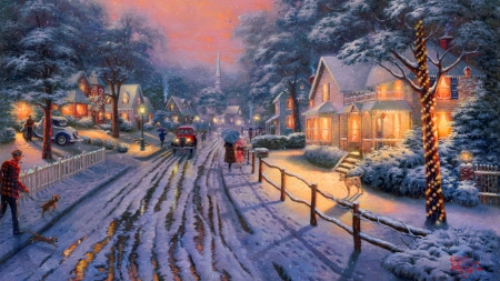 Astonishing Snowy Town Other Abstract Background Wallpapers On Interior Design Ideas Skatsoteloinfo
