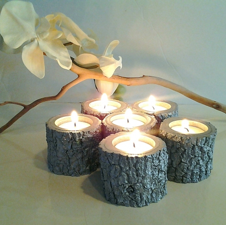 Creative Candles!♥ - centerpiece, christmas, flower, creative, wood, lights, candles