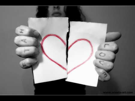 love and hate - paper, torn, written, fingers