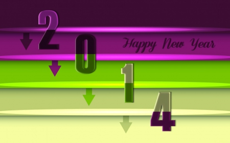 2014 - beauty, purple color, green, 2014, happy new year